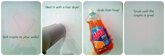 First You Take The Hair Dryer And Heat Crayon This Should Melt Wax Make Softer Easier To Scrub Off Then Dish Soap With