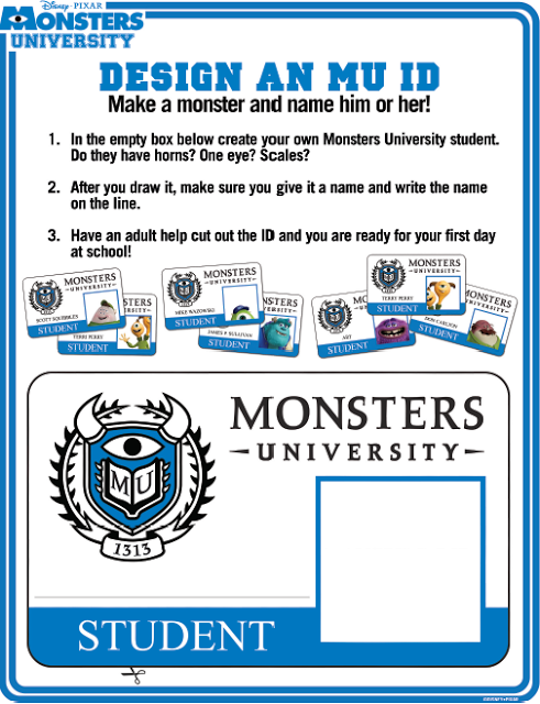 Monsters University Activity Sheets