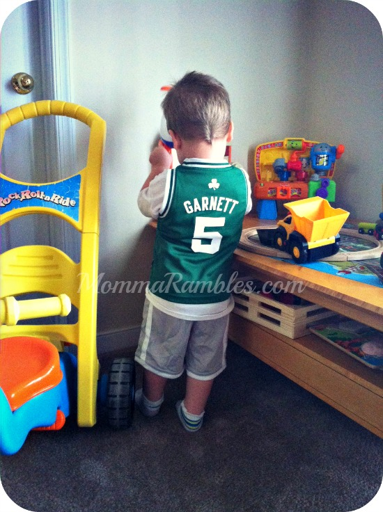 Showing his Boston Celtics Pride!