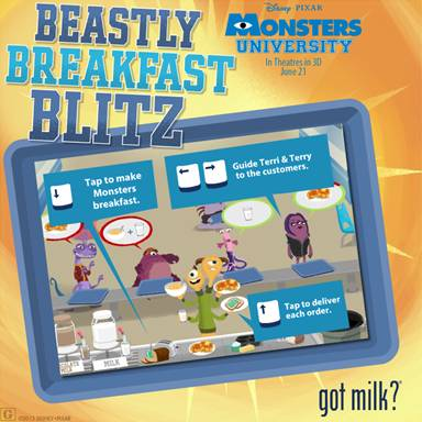 "Play the MONSTERS UNIVERSITY ""Beastly Breakfast Blitz"" Game! ~ #MonstersU"