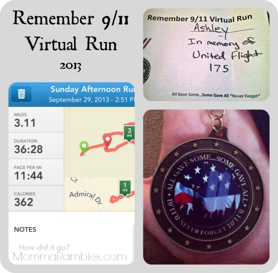 Remember 9/11 Virtual Run 2013 ~ My 5K Race Results #NeverForget