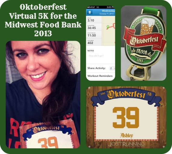Oktoberfest Virtual 5K for the Midwest Food Bank ~ My #JostRunning 5K Race Results