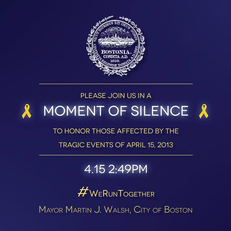 Moment of Silence for Boston & the Tragic Events of April 15, 2013 ~ #BostonStrong #WeRunTogether