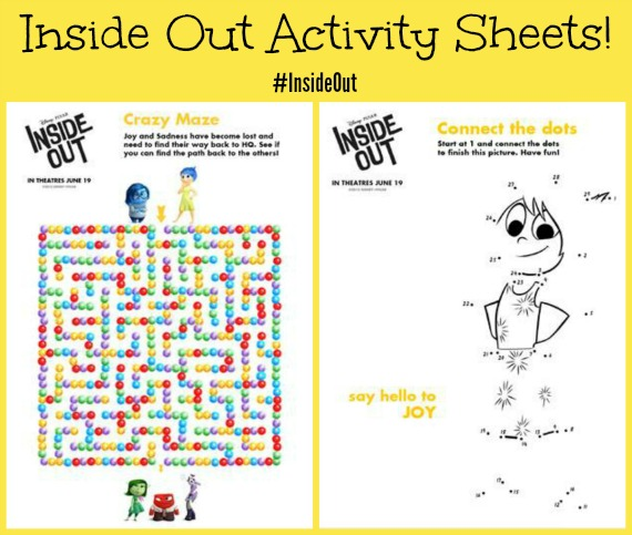 fun recipes activity sheets from disneypixars inside out insideout - Fun Activity Sheets