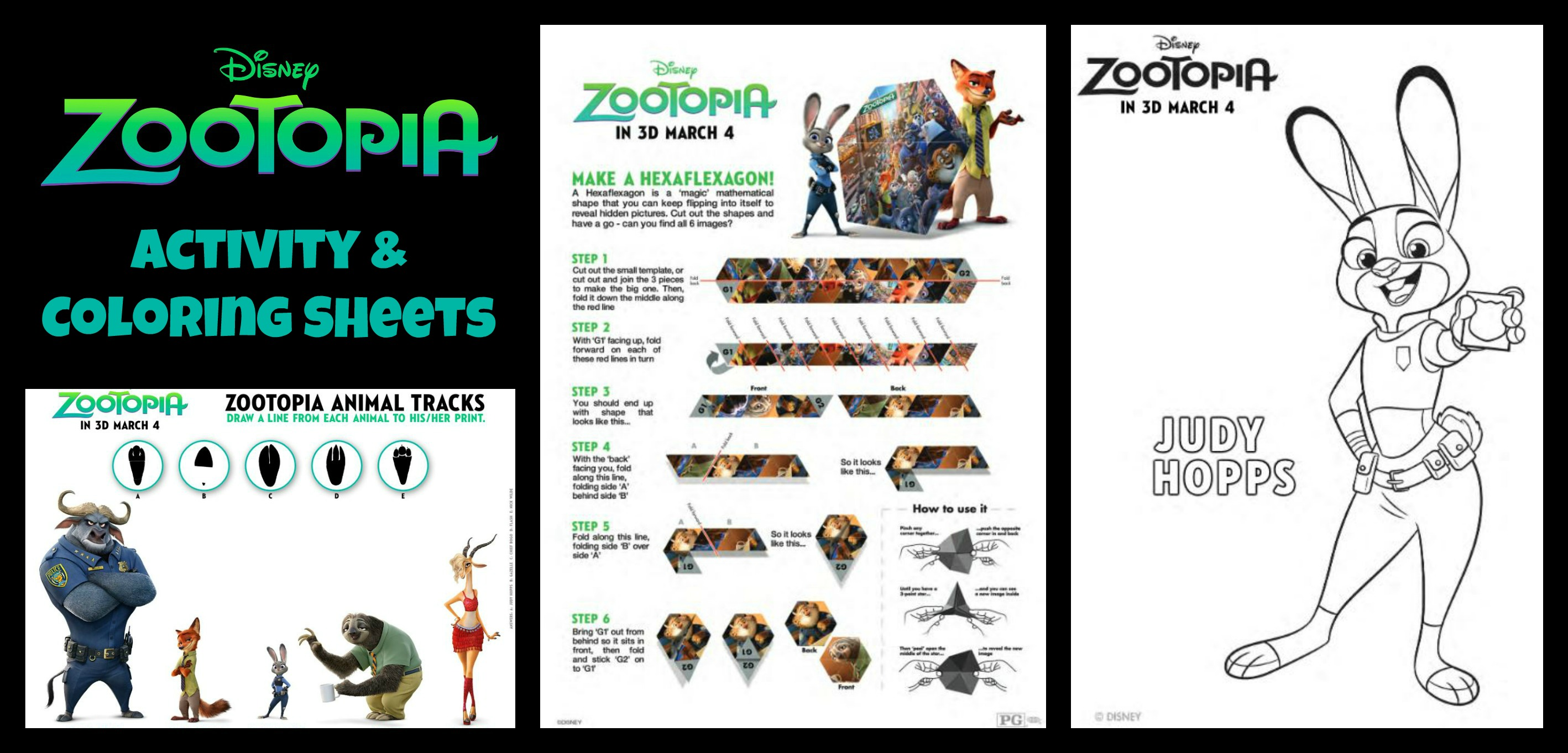 New Clips Activity Sheets For Disney Animations ZOOTOPIA