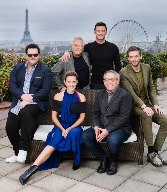 Special Shoot on the terrace of Belle Étoile, in Paris Alan Menken (composer), Bill Codon (director) and the film's stars Emma Watson, Dan Stevens, Josh Gad, Luke Evans & Alexis Loizon .